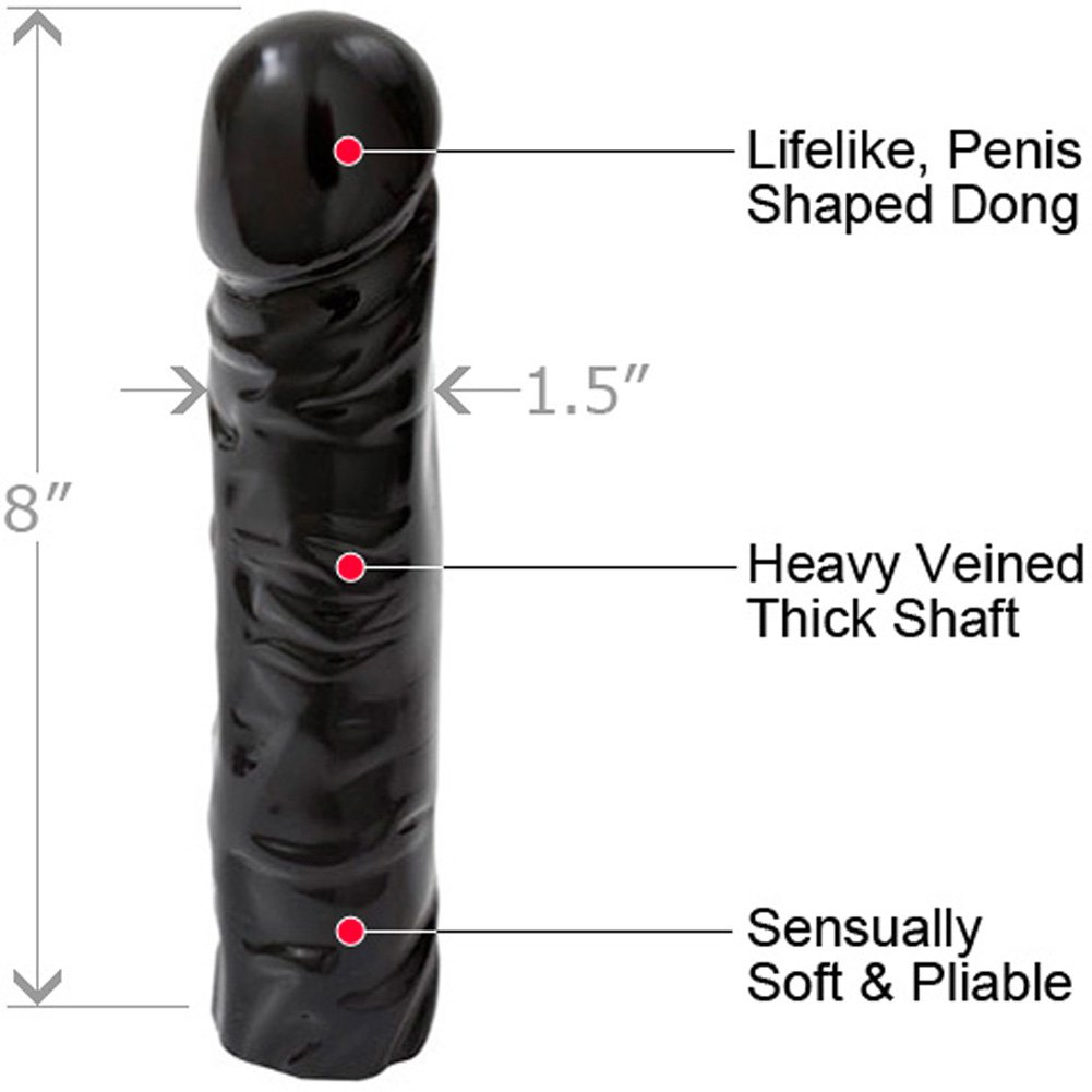 "Doc Johnson Classic Realistic Dong Sex Toy 8"" Ebony - View #1"