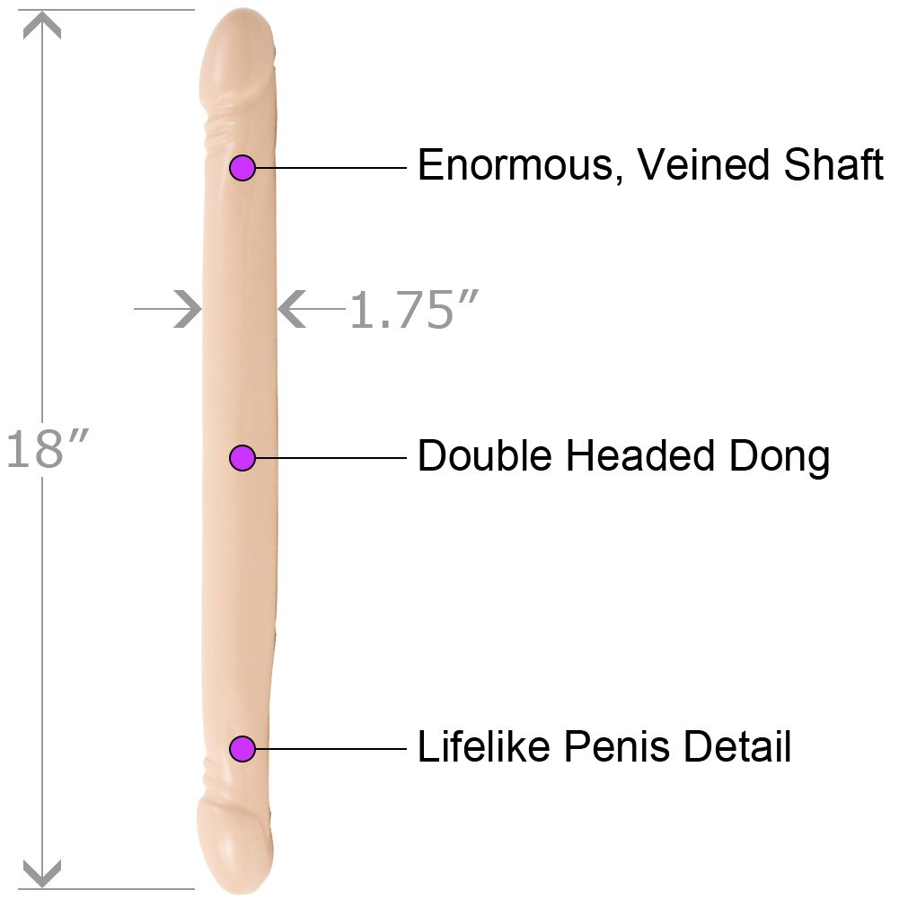 "Doc Johnson Smooth Double Header Dong 18"" Natural Flesh - View #1"