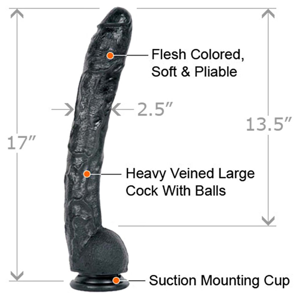 "Doc Johnson Classic Dick Rambone Cock Dildo 17"" Ebony - View #1"