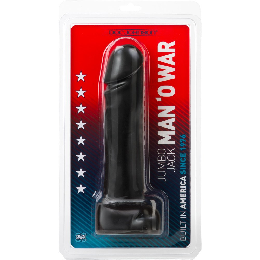 "Doc Johnson Jumbo Jack Man OWar Massive Cock Dildo 10"" Ebony - View #1"