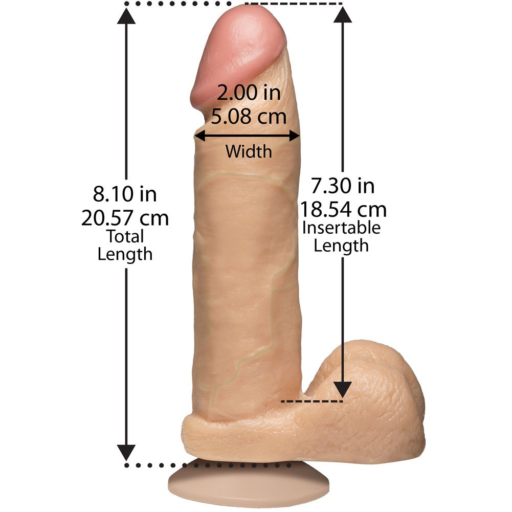 "Doc Johnson Realistic Cock with Balls Dong 8.75"" Natural - View #3"