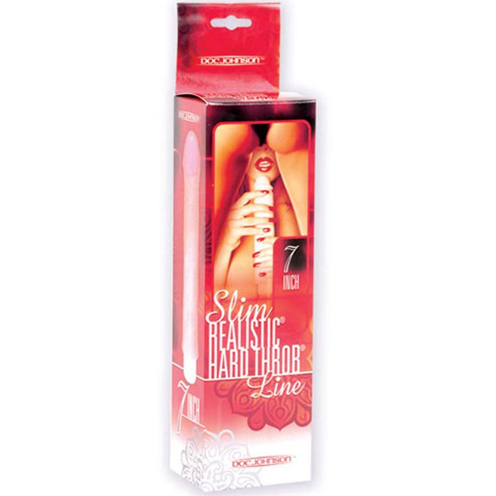 Slim Realistic Hard Throb Vibe with Sleeve Natural 7 In. - View #1