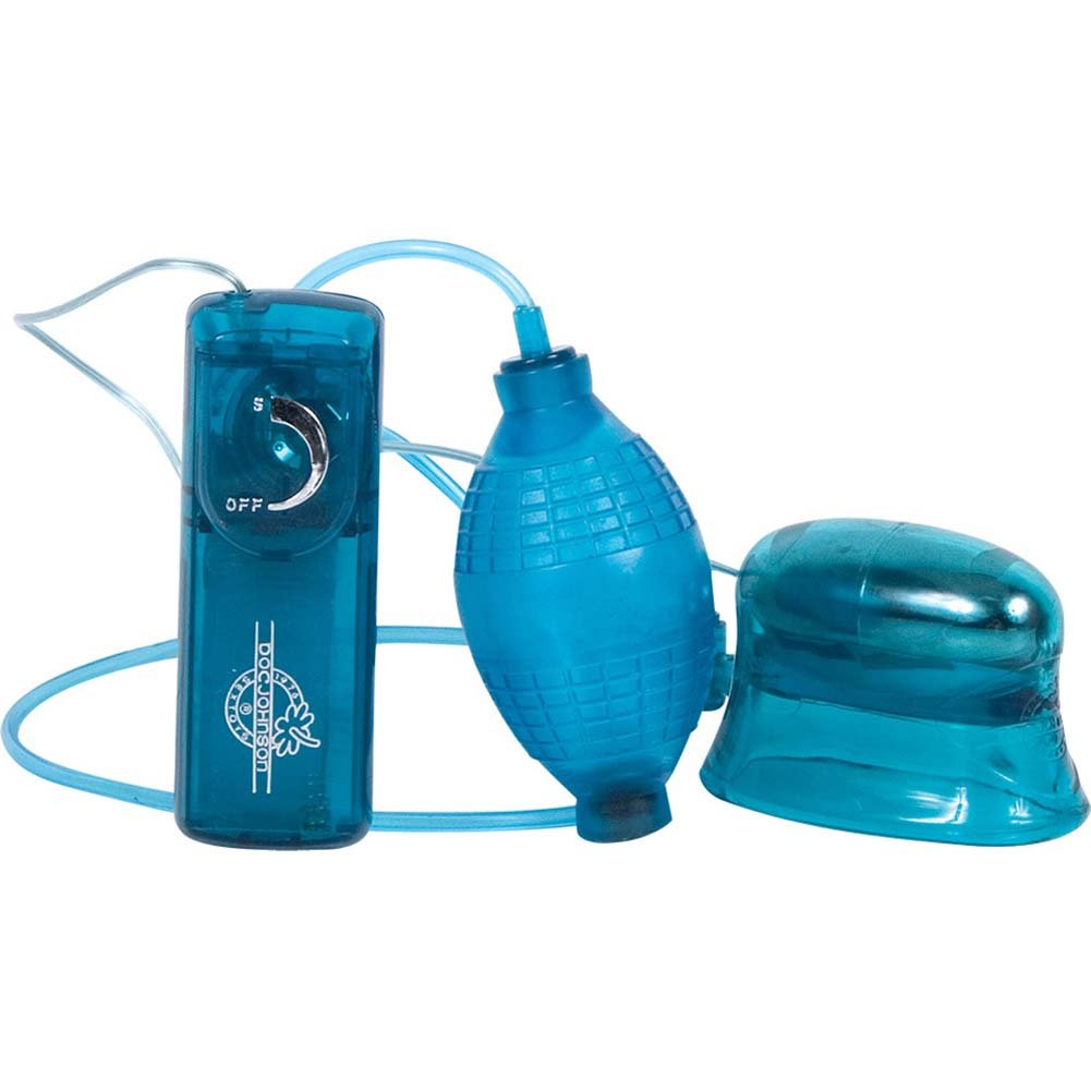 Pucker-Up Vibrating Clitoral and Vaginal Pump Blue - View #2