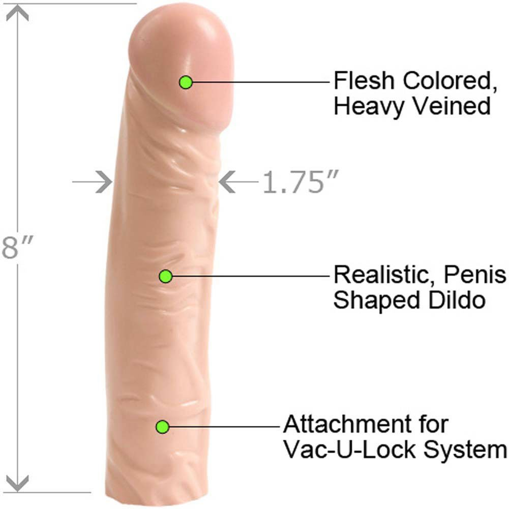 "Vac-U-Lock Classic Dong Attachment 8"" Natural - View #1"