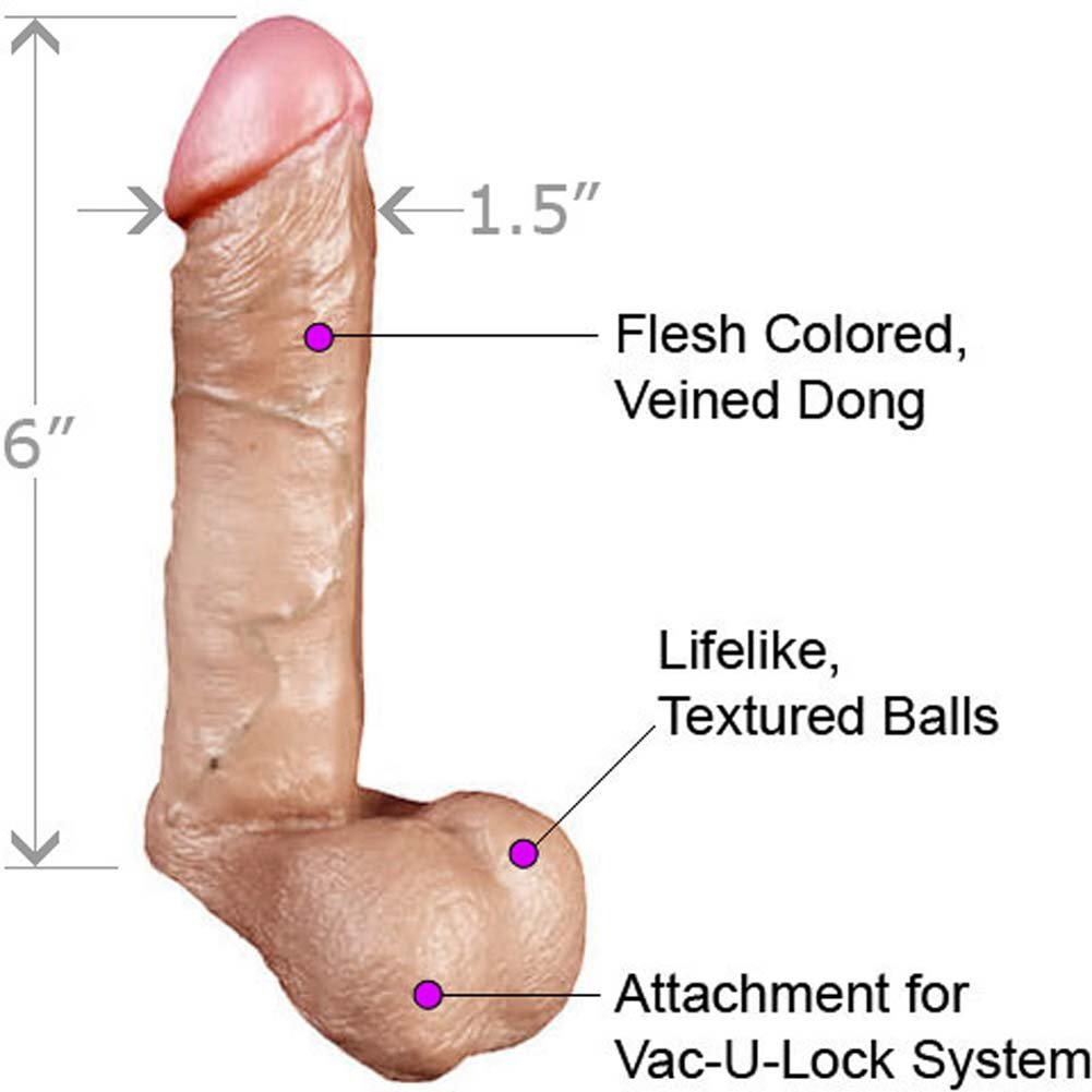 "Vac-U-Lock Realistic Cock with Balls 6"" Natural. - View #1"