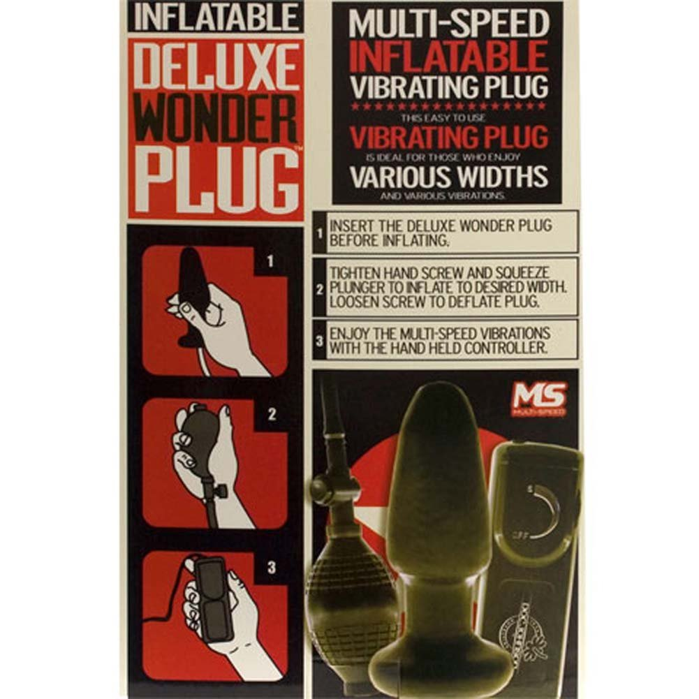 "Deluxe Wonder Inflatable Vibrating Plug 5"" Black - View #3"
