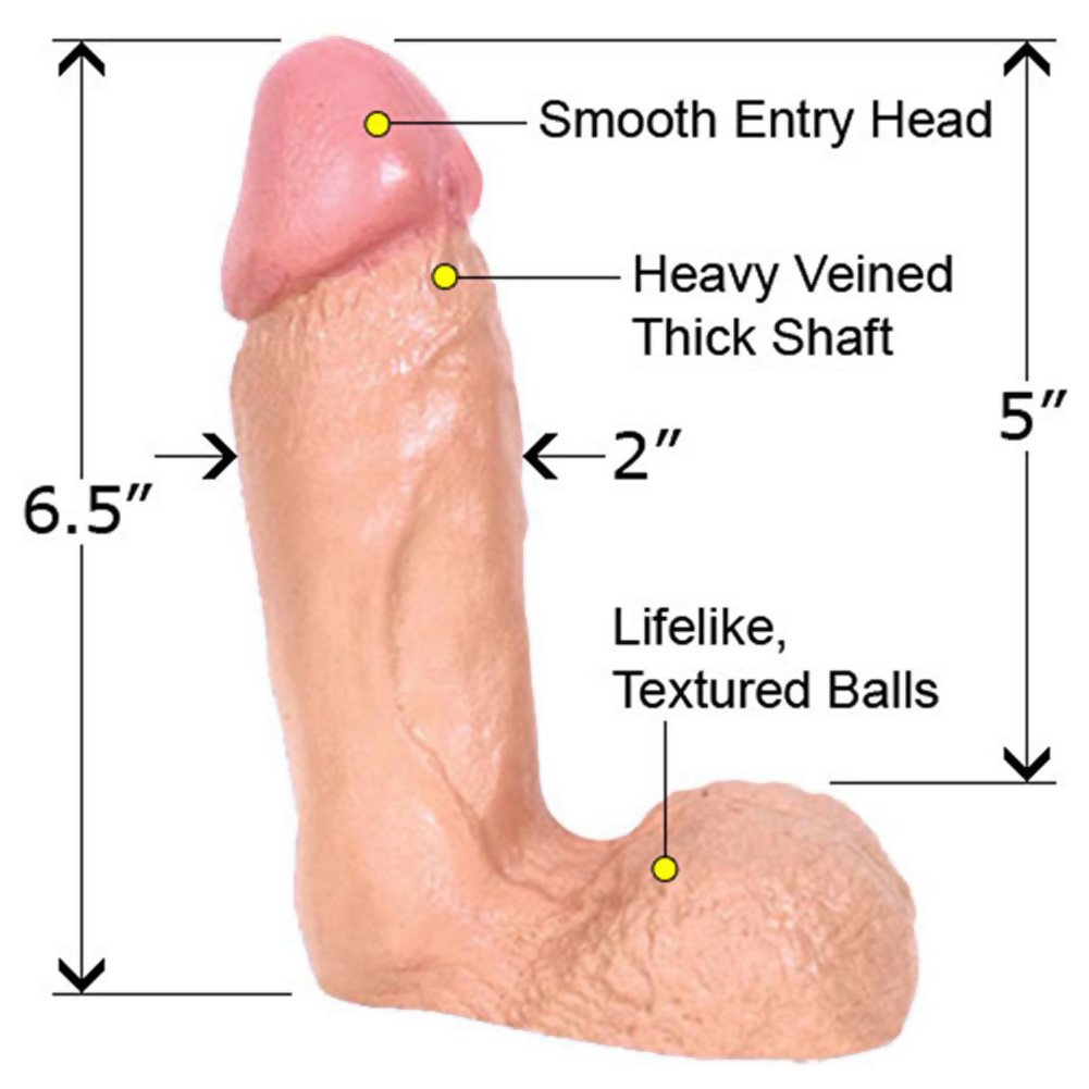 "Naturals Rubberline Thick Dong with Balls 6.5"" Natural - View #1"