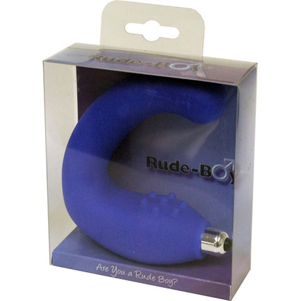 Rocks-Off Rude Boy Silicone Vibrating Butt Plug Blue - View #3