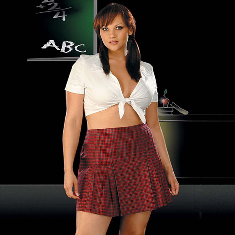 School Girl White and Red Costume Plus Size 1X/2X - View #1