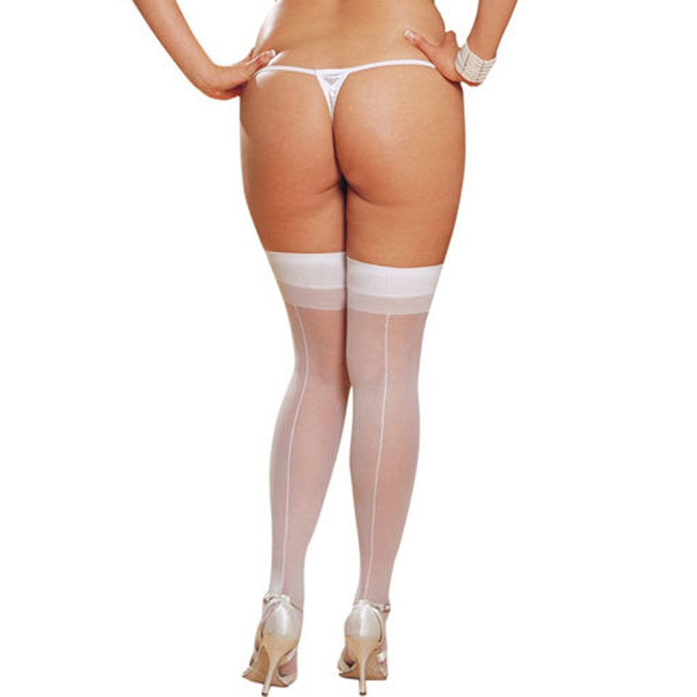 Dreamgirl Sheer Thigh High with Back Seam Plus Size White - View #1