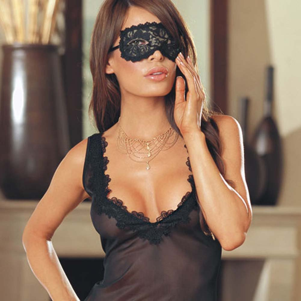 Midnight Masquerade Babydoll Set Black RbDV - View #3