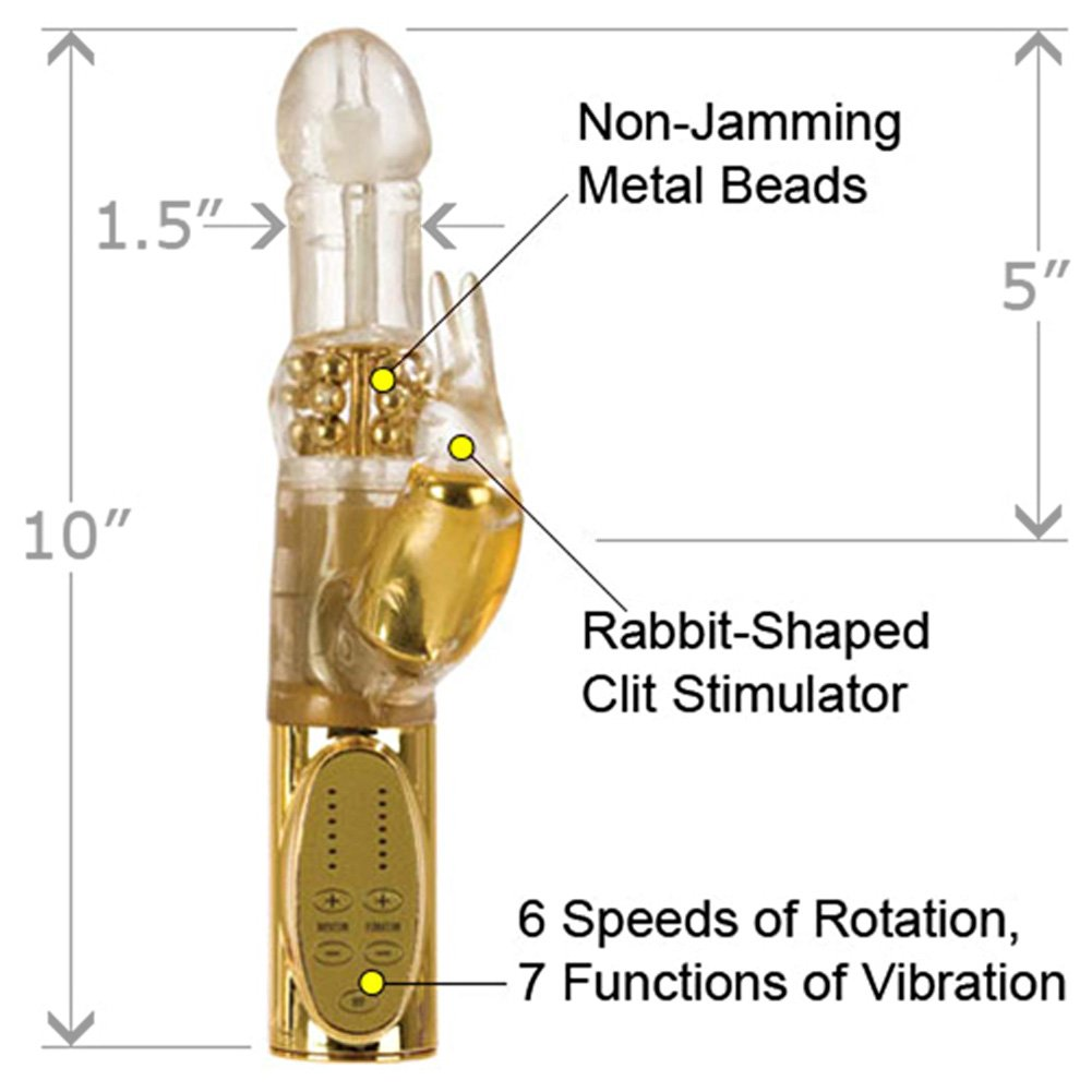 "California Exotics Jack Rabbit Platinum Collection Intimate Vibrator 10"" Gold - View #1"