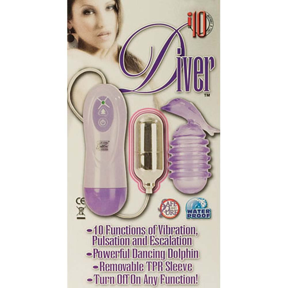 I10 Diver Waterproof 10 Function Vibrating Dolphin Purple - View #3