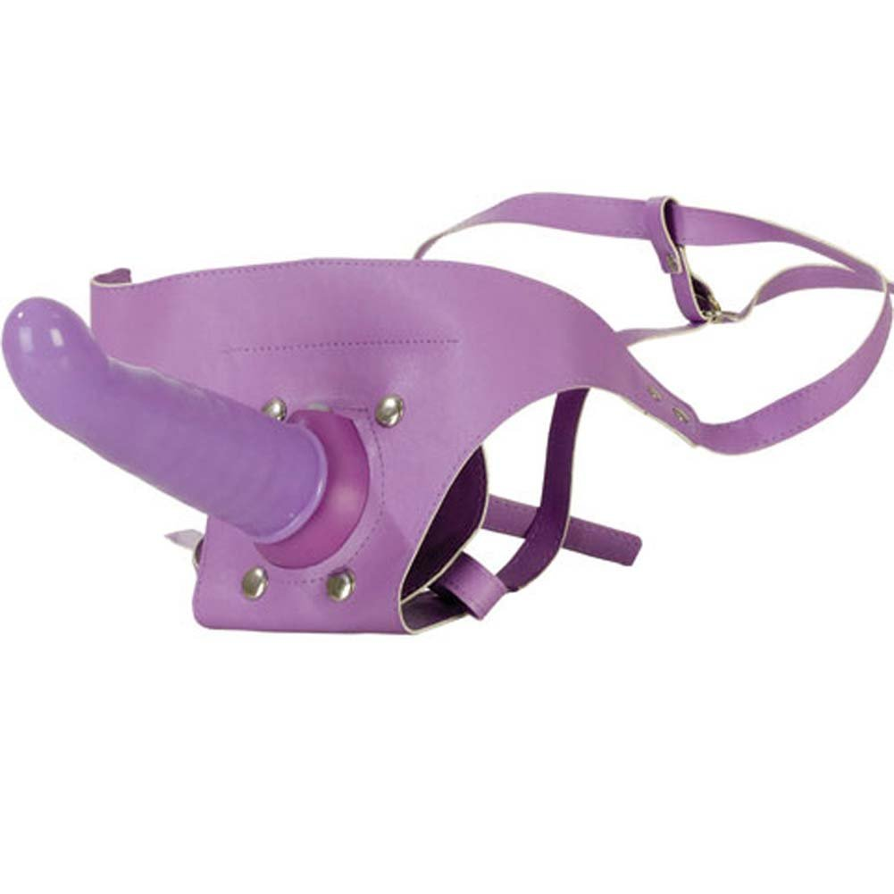 "Waterproof Power Harness with Vibrating Dong 6.5"" Purple - View #2"