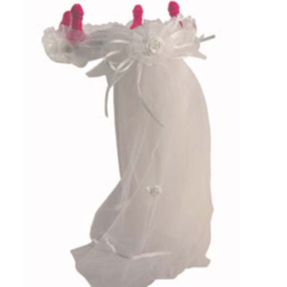Bachelorette Party Favors Pecker Crown and Veil White - View #2