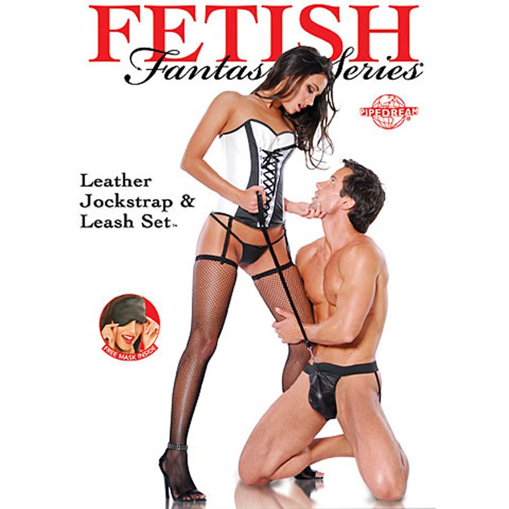Fetish Fantasy Series Leather Jockstrap and Leash Black - View #2