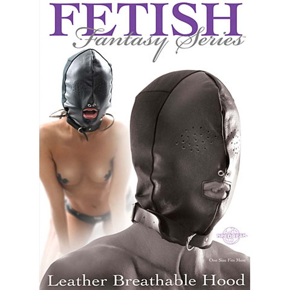 Fetish Fantasy Series Leather Breathable Hood Black - View #2