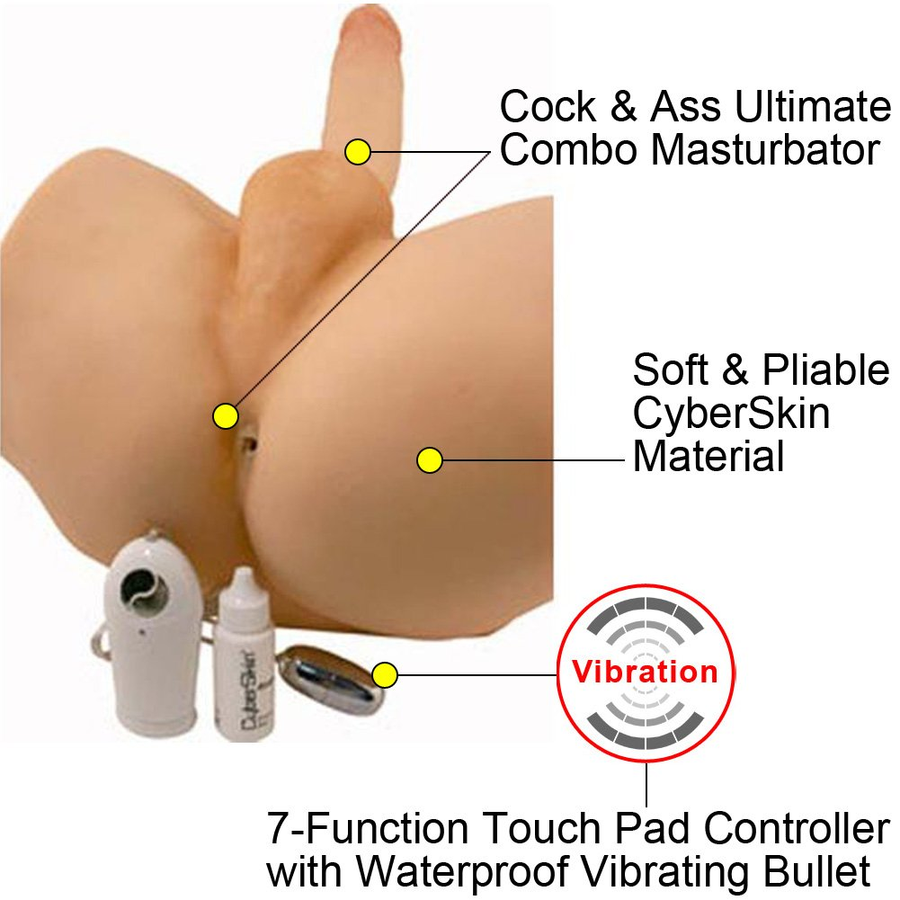 Virtual Sex Light Weight CyberSkin Vibrating Cock and Ass - View #1