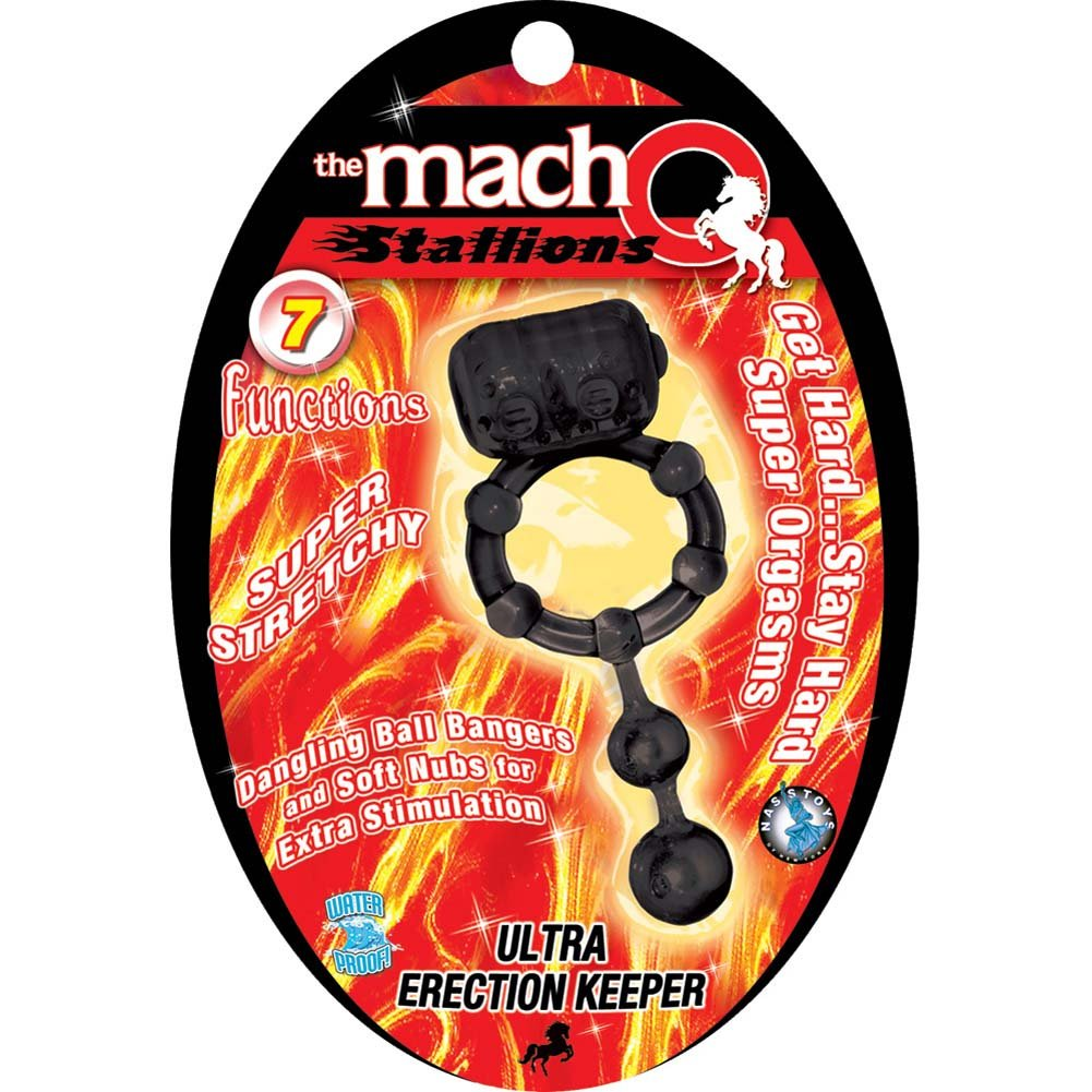 Macho Stallions Ultra Erection Keeper Vibrating Cockring Black - View #1