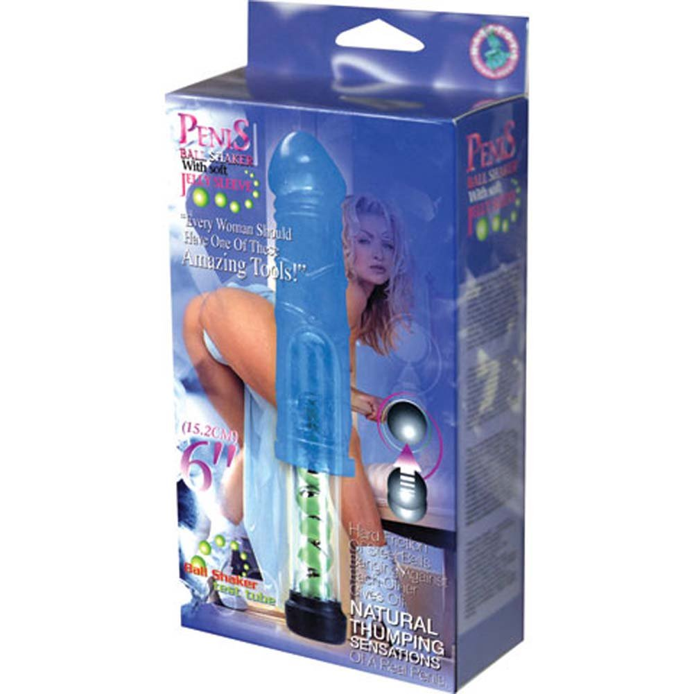"""Penis Ball Shaker with Soft Jelly Sleeve Vibe 6.25"""" Blue - View #3"""