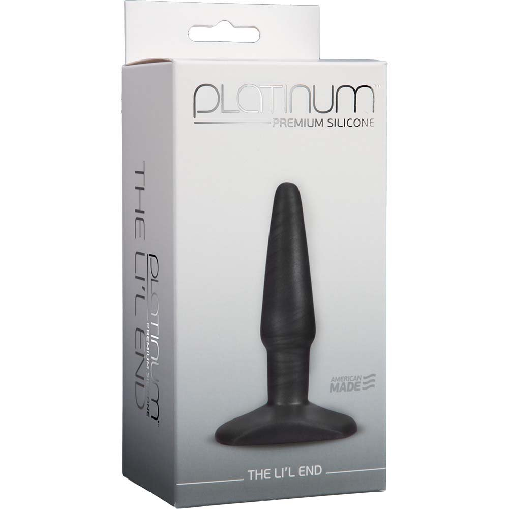 "Platinum Premium Silicone Lil End Butt Plug 4.25"" Charcoal - View #1"