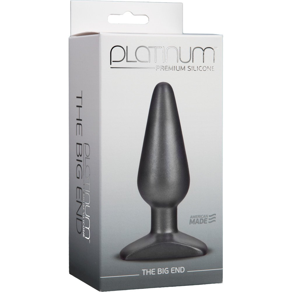 "Platinum Silicone BIG END Butt Plug 5.25"" Charcoal - View #1"