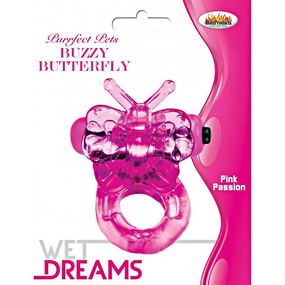 Purrrfect Pets Buzzy Butterfly Vibrating Cockring Magenta - View #3