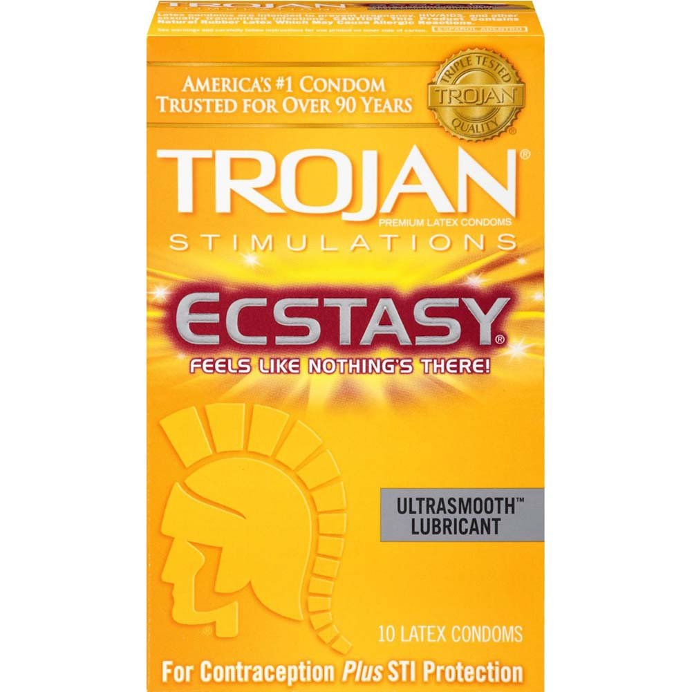 Trojan Stimulations Ecstasy Condoms with UltraSmooth Lubricant 10 Pack - View #2