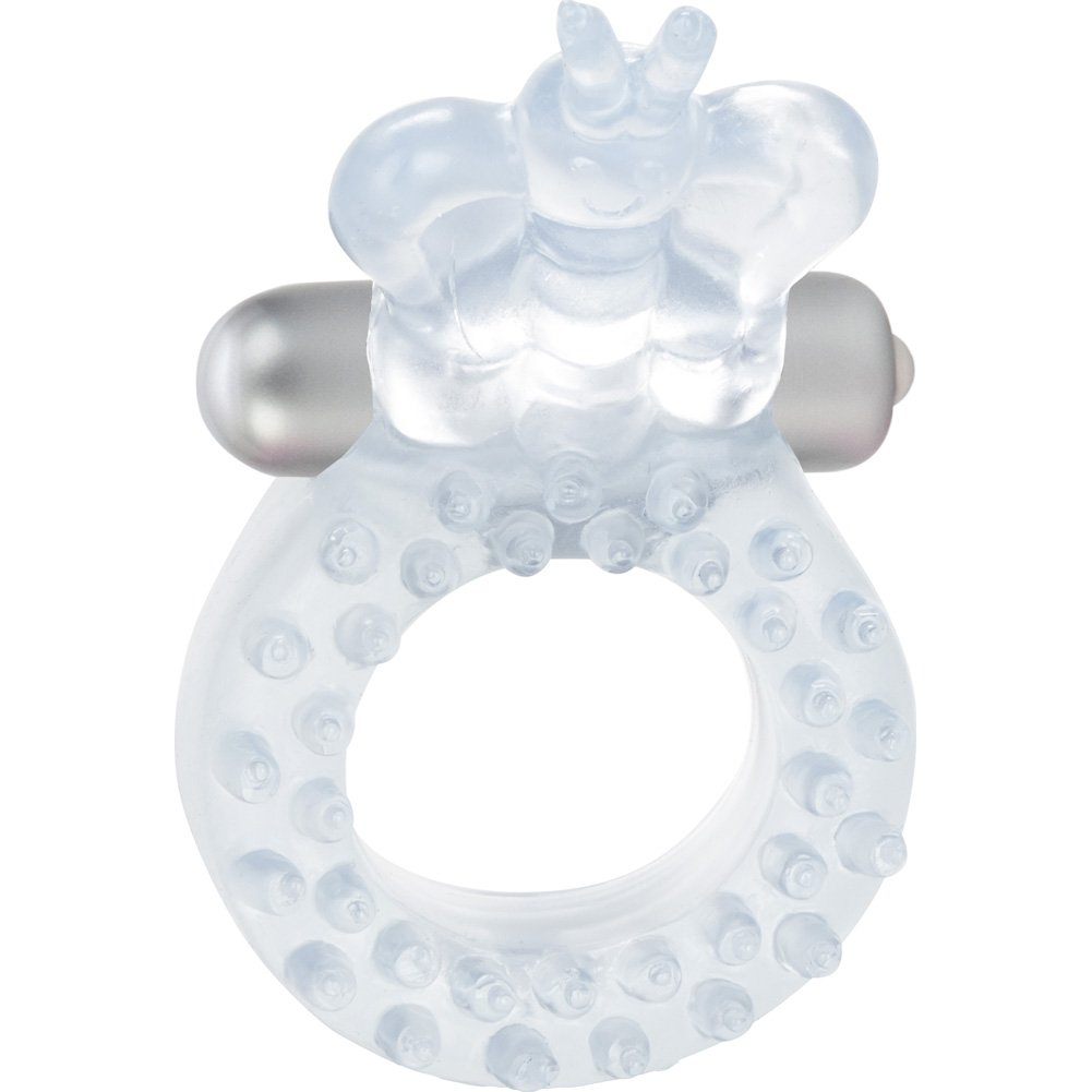 California Exotics Cordless Butterfly Waterproof Vibrating Ring Clear - View #3