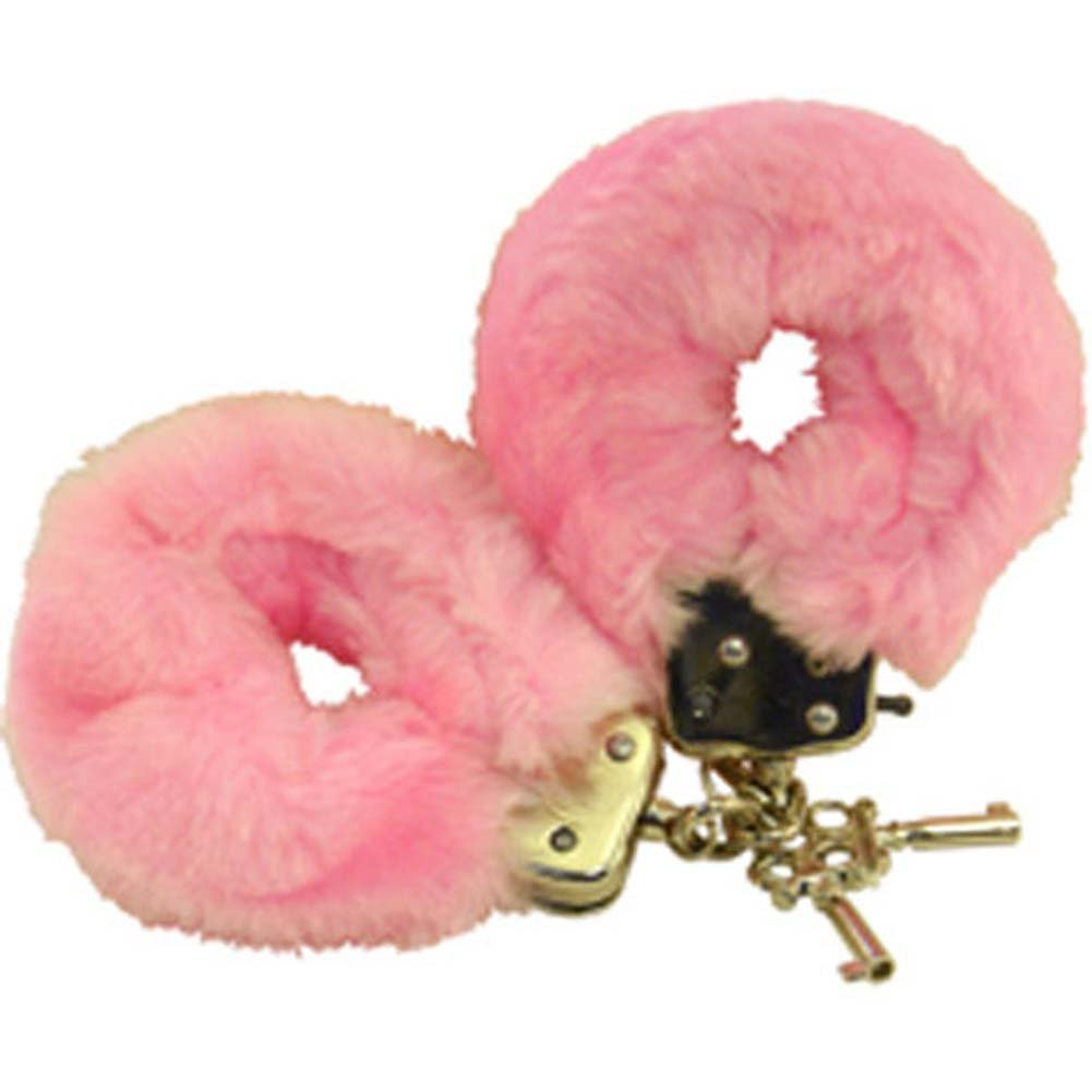 Golden Triangle Faux Fur Love Cuffs for Intimate Lovers Plush Pink - View #2