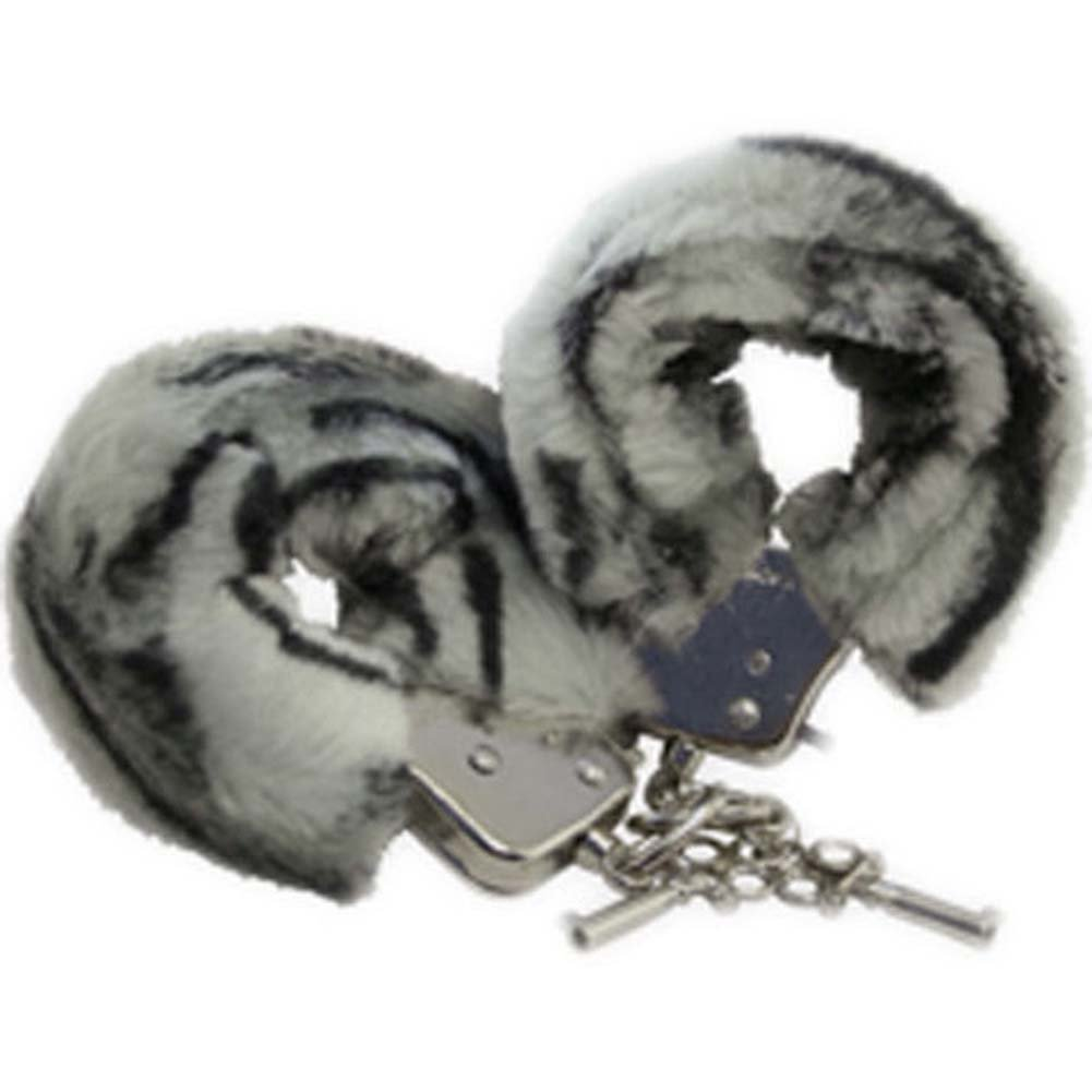 Faux Fur Love Cuffs for Intimate Lovers Plush Zebra - View #2
