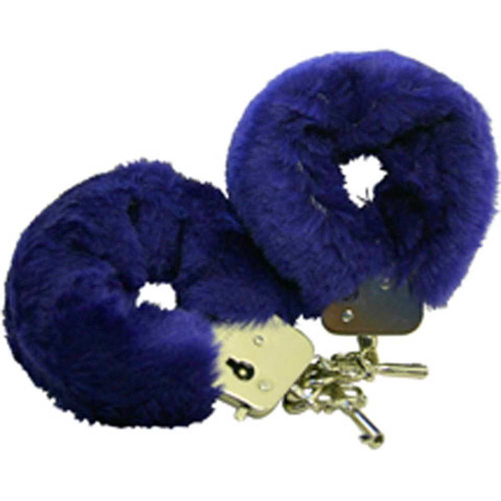 Faux Fur Love Cuffs for Intimate Lovers Plush Blue - View #2