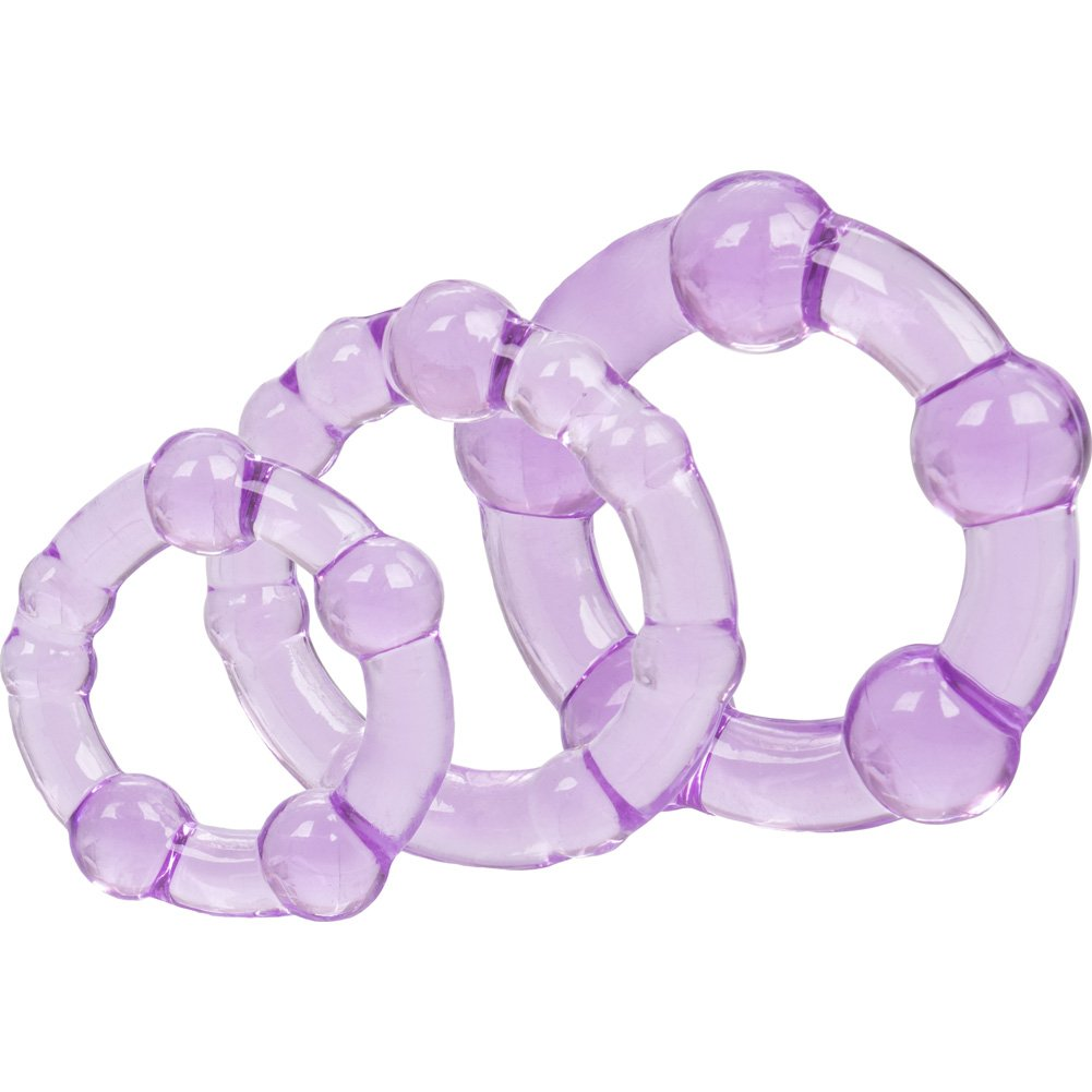 California Exotics Island Silicone Rings 3 Sizes Purple - View #3