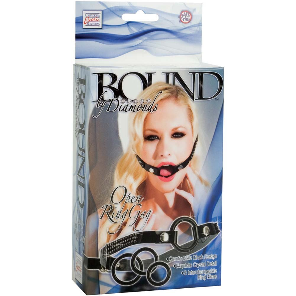 California Exotics Bound By Diamonds Open Ring Gag with 3 Interchangeable Rings Black - View #4