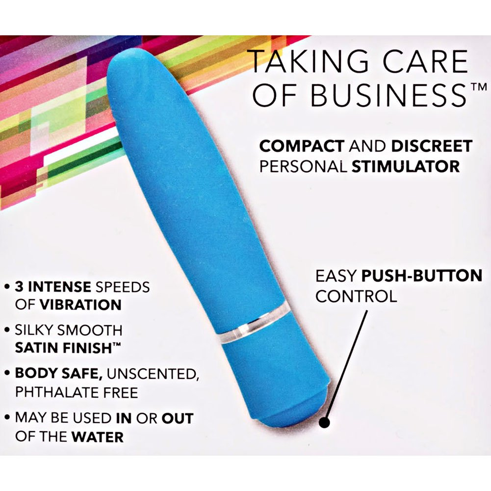 "California Exotics T.C.B. Taking Care of Business Waterproof Vibrator 4"" Blue - View #1"