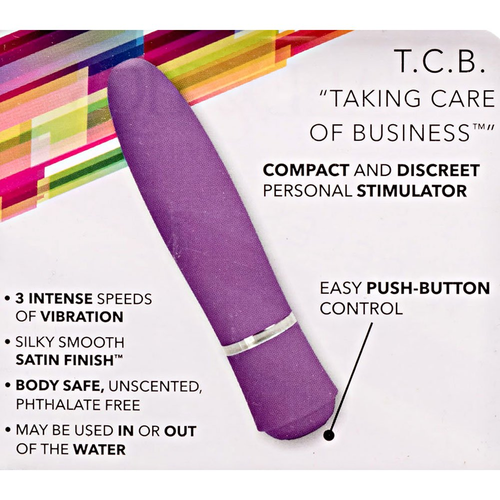 "California Exotics T.C.B. Taking Care of Business Waterproof Vibrator 4"" Purple - View #1"
