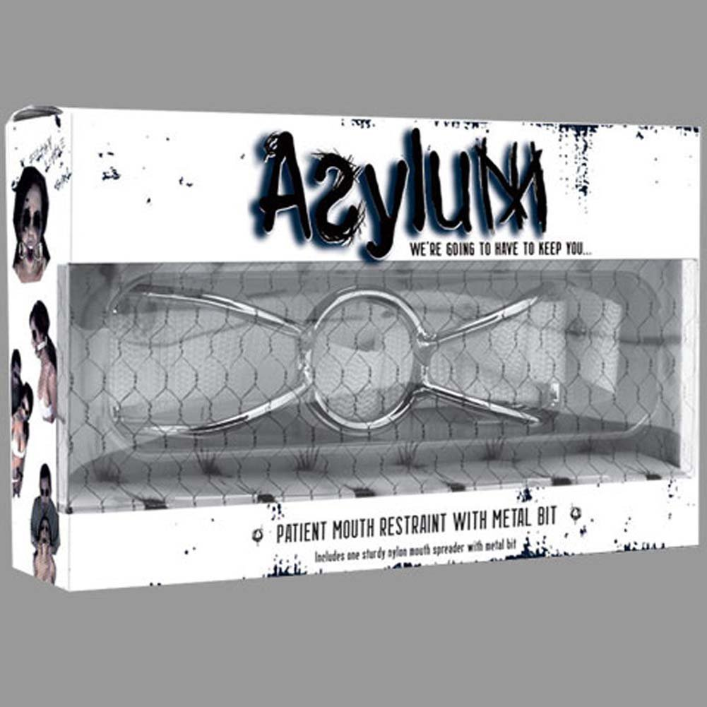 Asylum Patient Mouth Restraint with Metal Bit Medical White and Steel - View #3