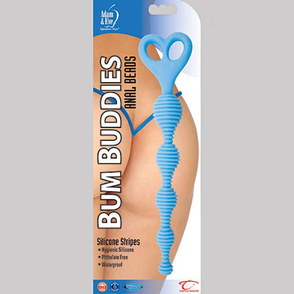 "Bum Buddies Silicone Stripes Anal Beads 10"" Blue - View #1"