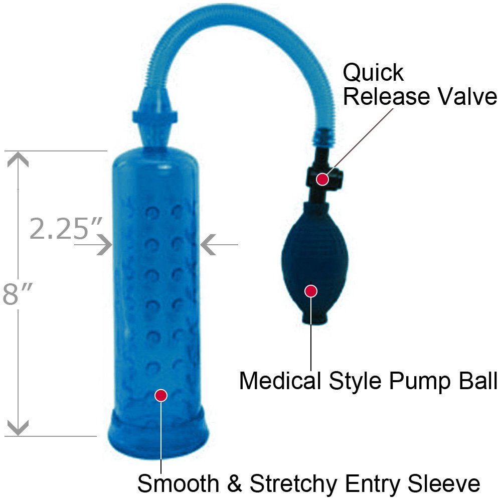 "Supersizer II Waterproof Penis Pump 8"" Blue - View #1"