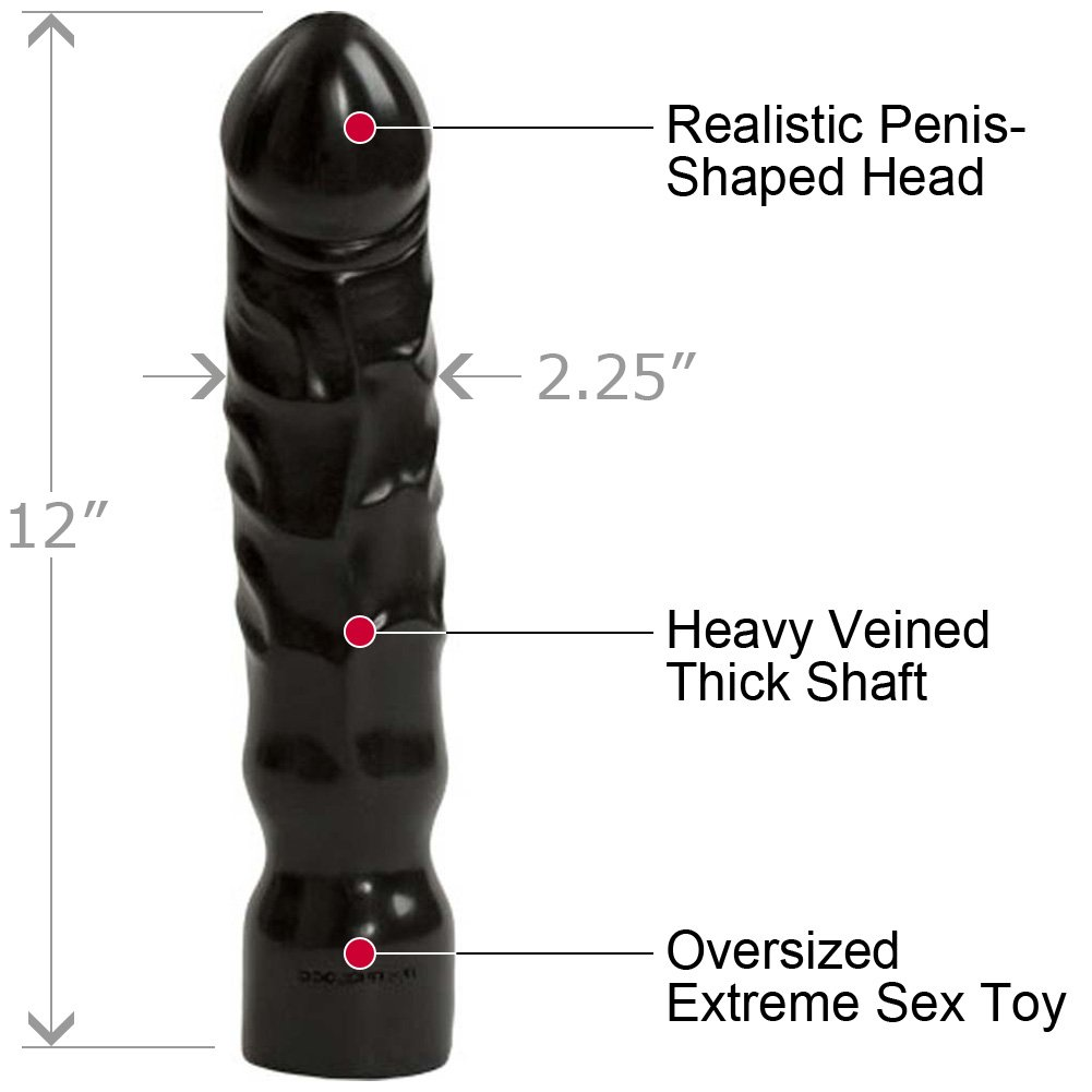 "Big Boy Dildo by Doc Johnson 12"" Kinky Black - View #1"