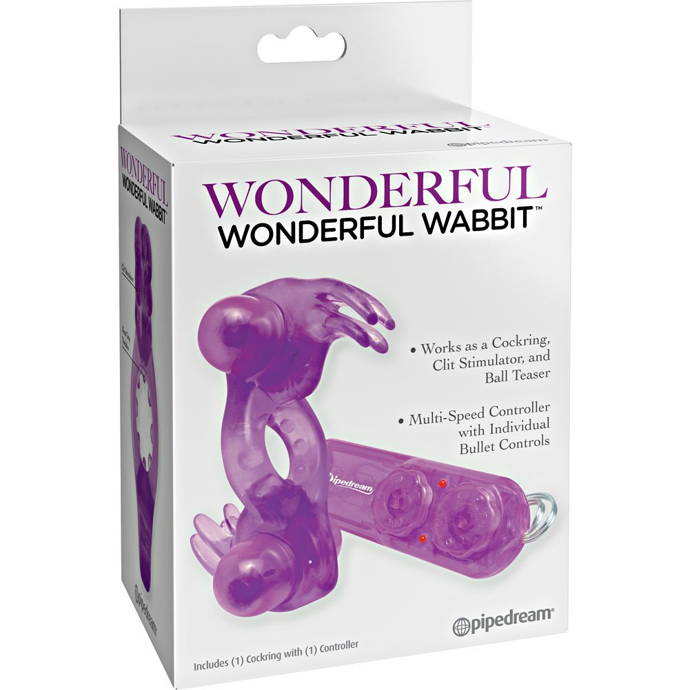 Wonderful Wabbit Vibrating Dual Bullet Cockring for Couples Purple - View #4