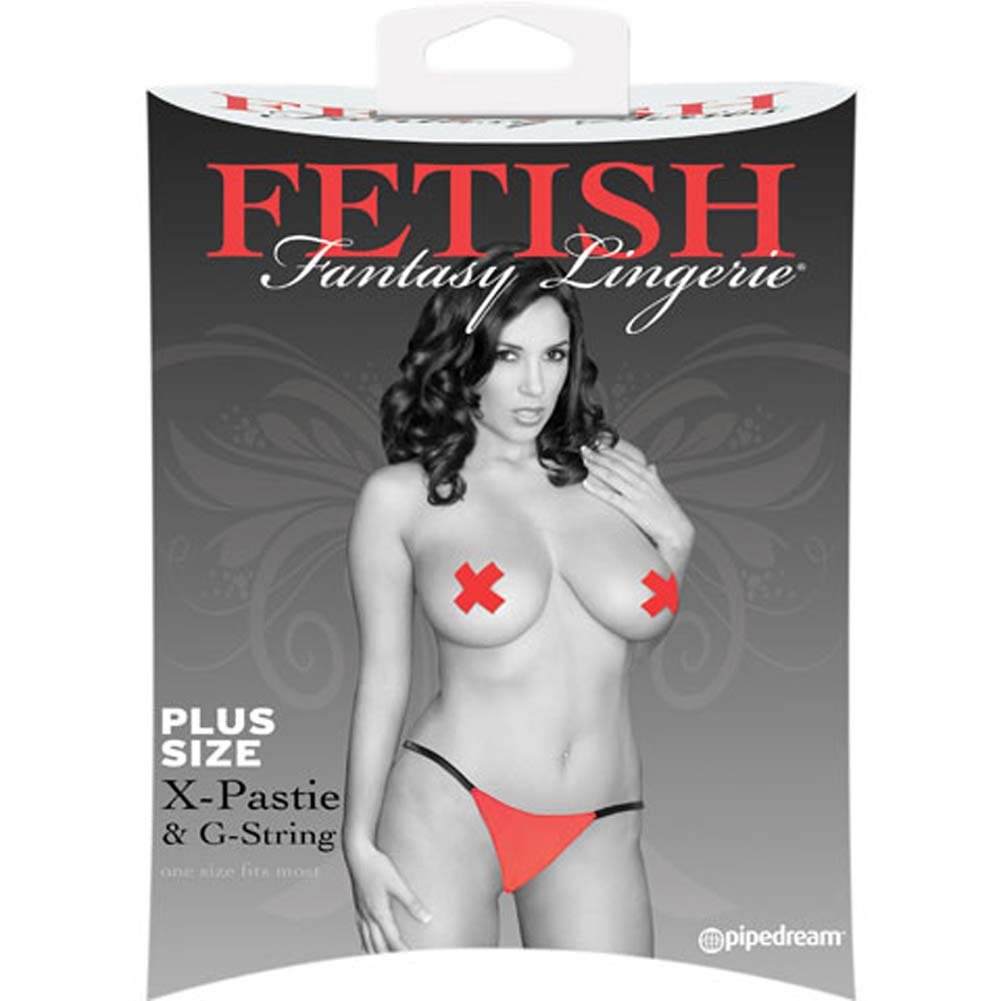 Fetish Fantasy Lingerie X Pastie and GString Red Plus Size - View #2