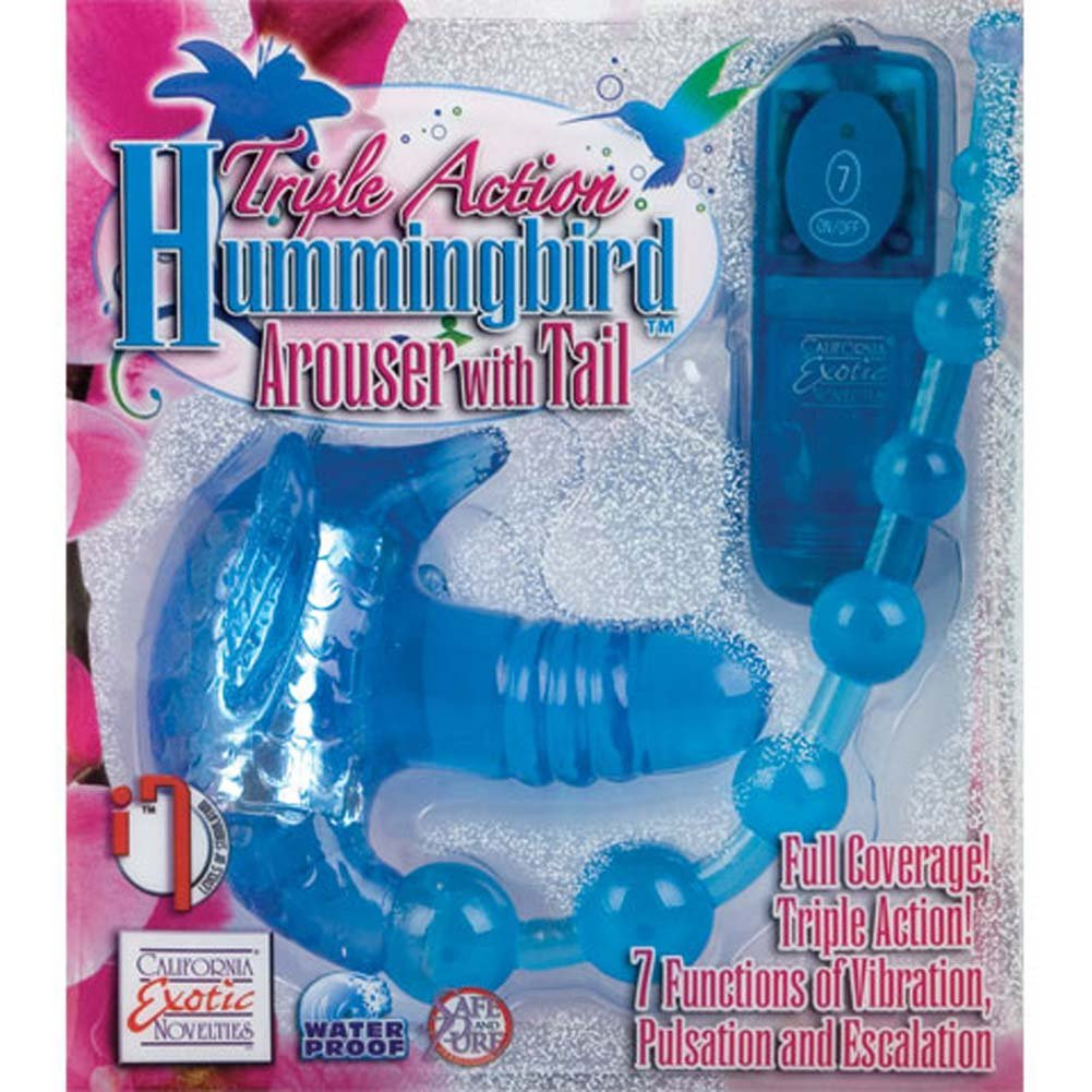 Triple Action Hummingbird Vibrating Arouser with Beaded Tail - View #3