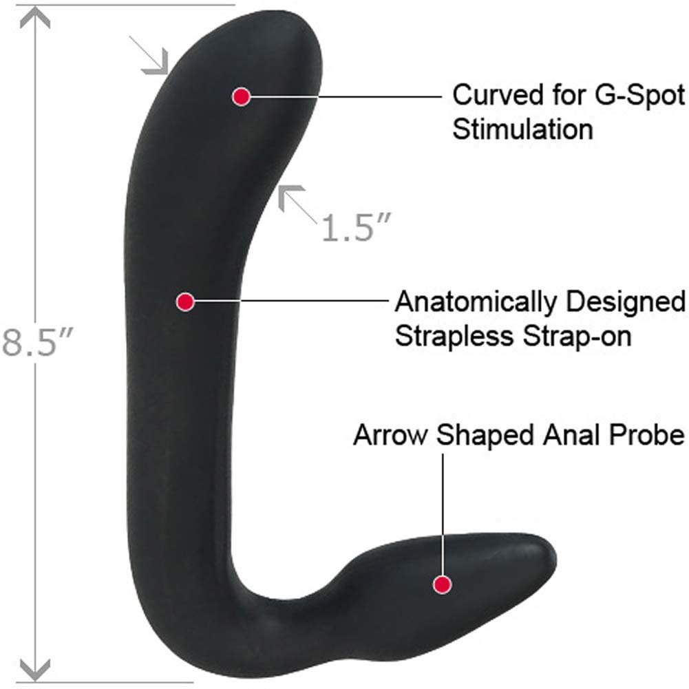 "Love Rider Silicone Strapless Dong 8.5"" Black - View #1"