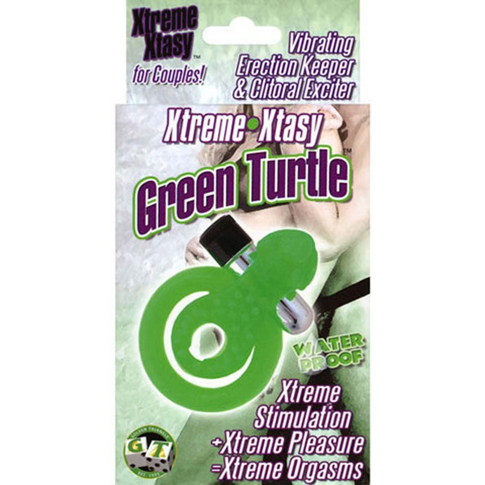 Xtreme Xtasy Vibrating Silicone Cockring Green Turtle - View #1