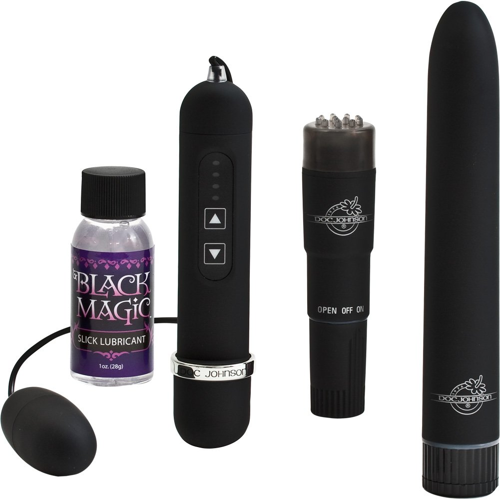 Black Magic Waterproof Vibrating Pleasure Kit Black - View #2