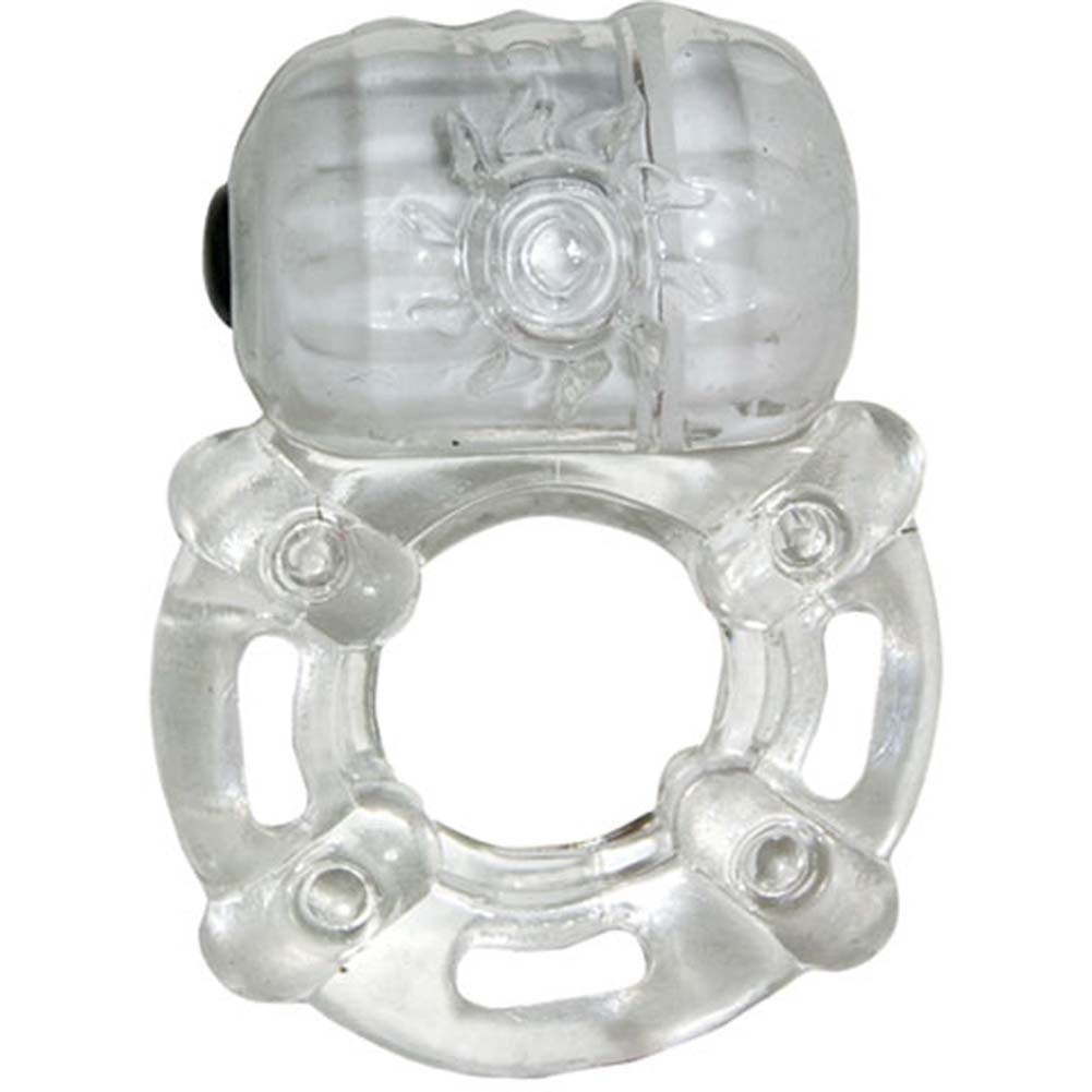 Macho Crystal Collection Pulsating Erection Keeper Cockring Clear - View #2