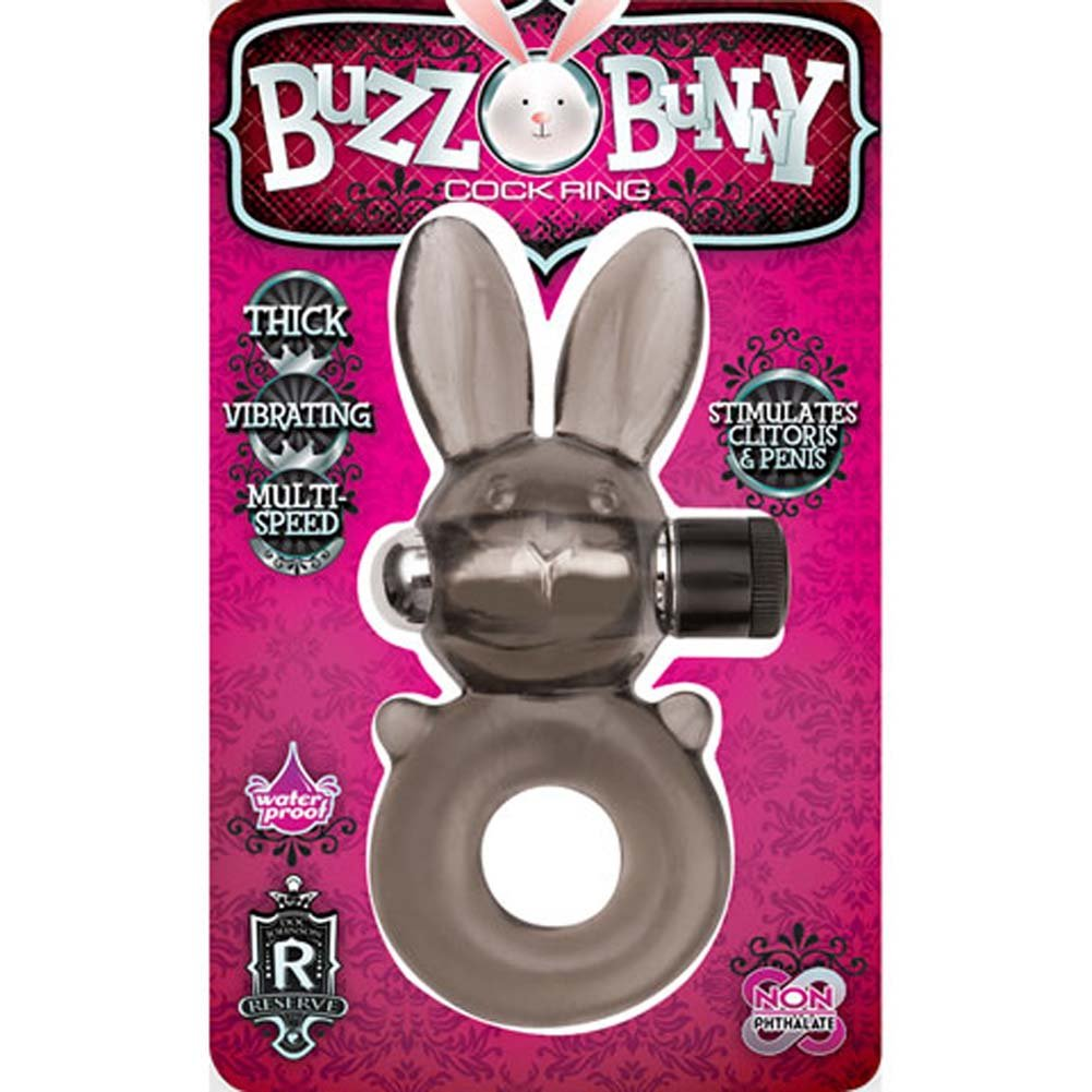 Buzz Bunny Waterproof Vibrating Cockring Charcoal - View #2