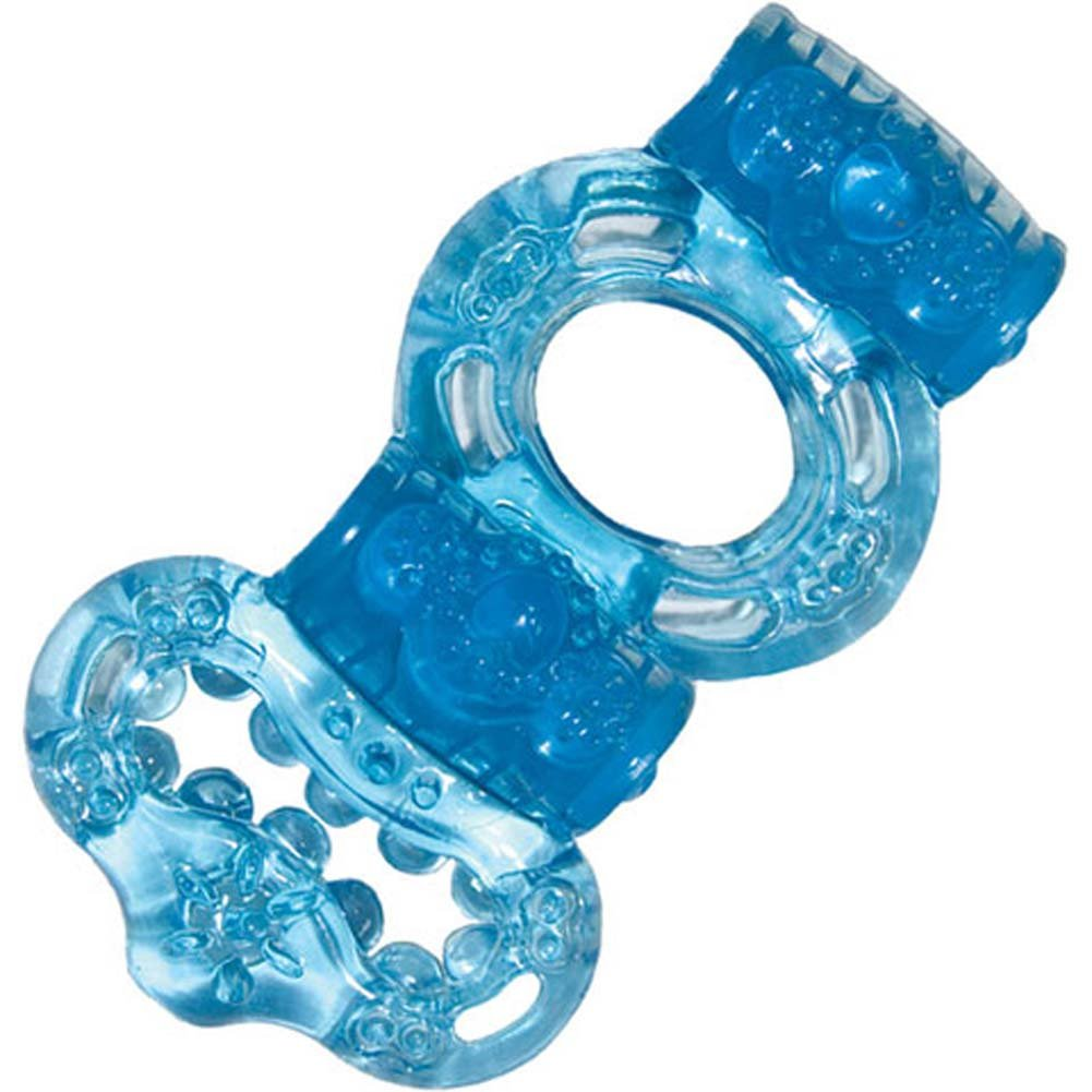 Macho Ultimate Double Power Cock and Balls Jelly Ring Blue - View #2