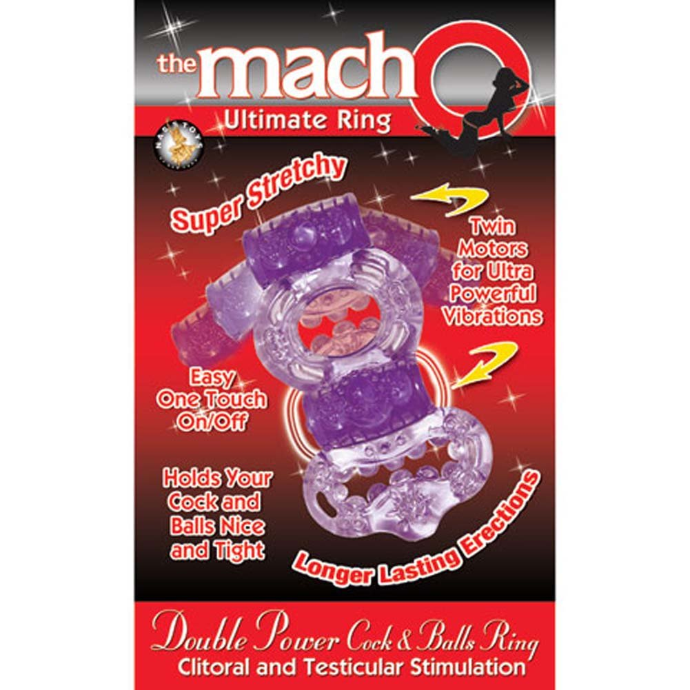 Macho Ultimate Double Power Cock and Balls Jelly Ring Purple - View #3